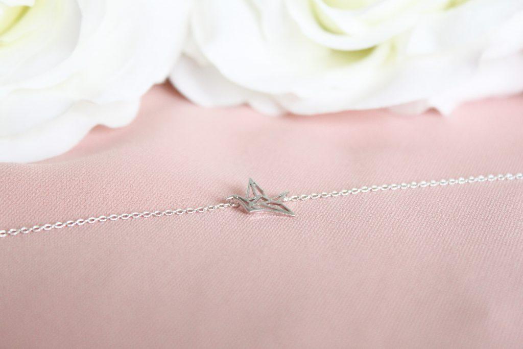 bracelet chainette grue en origami luna pyxis